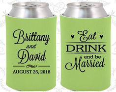 Wedding Favor Can Coolers (30) Eat Drink and Be Married - Wedding Can Coolers - Personalized Can Coolers - Custom Can Coolers