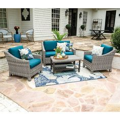 Leisure Made Marietta Metal Frame Patio Conversation Set with Cushions at Lowe's. With a casual vibe, and comfortable slopping armrests, the Marietta seating set promises to be a destination spot in your outdoor space. Outdoor Seating, Outdoor Spaces, Outdoor Living, Outdoor Decor, Pergola Designs, Patio Design, Pergola Kits, Ensemble Patio, Blue Cushions