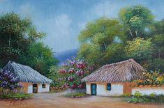 paisajes-campesinos-al-oleo Landscape Art, Landscape Paintings, Village Drawing, Buddha Painting, Nature Drawing, Beautiful Paintings, Cartoon Art, Watercolor Art, Folk Art