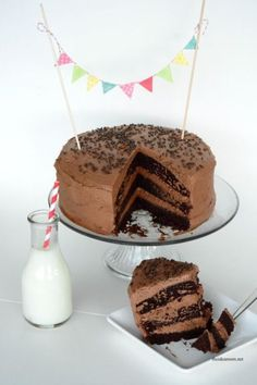 Chocolate-Layer-Cake Recipe with Chocolate Frosting. The perfect Chocolate Dessert | theidearoom.net