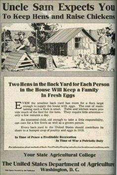 Backyard chickens suburban farm old government poster - this is when people were expected to have some sort of responsibility...not whats going on today