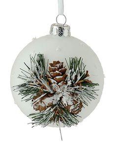 Xmas white ball. Διακοσμητική μπάλα Χριστουγέννων, 10 cm (L155090). Christmas ornaments