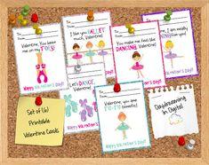 Digital File - Ballerina Dance Valentine Cards- Printable - Instant Download on Etsy, $3.99