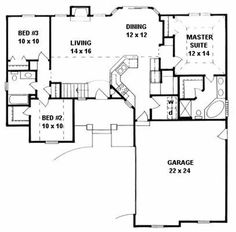 House Plan # 103-1084      So much I like about this house - love the living/kitchen areas!  (1307 sq ft) vaulted ceilings in living, dining, kitchen, and bed #2 *coffered ceiling in master bedroom *plant shelves *jacuzzi tub *walk-in closets *pottery niche *bay window *hutch space *walk-in pantry *raised bar *fireplace *covered porch *optional finish basement with rec room, two beds, and one full bath