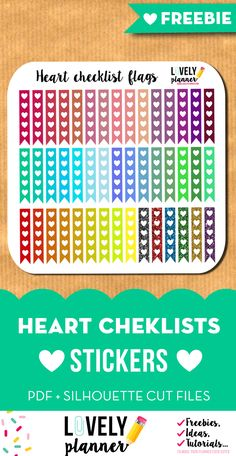 Download this set 45 heart checklist flags for you planner to-do lists! Fits EC Life planner. Pdf and silhouette print and cut files included. More freebies for your planner on lovelyplanner.com