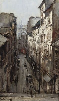 Artwork by Johannes Korthals, A small street in Paris, Made of oil on canvas 50 x 30 cm Signed