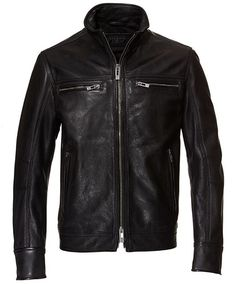 Classic Leather Jacket-S-Black