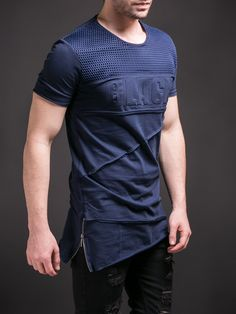 "E1 Men Asymmetrical Side Zippers ""BLACK"" Net T-shirt - Navy Blue"