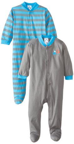 Gerber Baby-Boys Newborn 2 Pack Sleep N Play - Truck Bodysuit, Gray, 6-9 Months