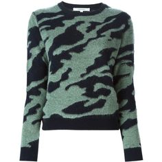Carven Camouflage Sweater (€175) ❤ liked on Polyvore featuring tops, sweaters, green, camo print top, camouflage top, green top, carven sweater and green sweater