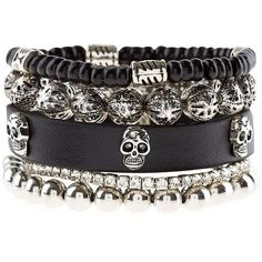 New Look Black Leather-Look Skull Bracelet Pack ($8.04) ❤ liked on Polyvore featuring jewelry, bracelets, goth, skull bangle, gothic jewelry, skull jewelry, vegan jewelry and goth jewelry