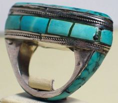 Silver ring decorated with turqoises from Kazakhstan.