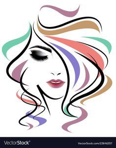 Women long hair style, women face on white background. Illustration of women long hair style, women face on white background stock illustration Girl Face, Woman Face, Fashion Illustration Face, Long White Hair, Face Stencils, Silhouette Art, Female Art, Art Girl, Line Art