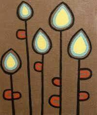So simple, great inspiration for my rag quilt. Mid Century Modern Art, Mid Century Art, Folk Art Flowers, Flower Art, Easy Flower Painting, Arte Tribal, Pen Art, Doodle Art, Easy Drawings