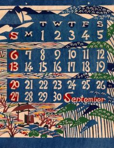 pinkpagodastudio: Vintage Katazome Calendars designed by Keisuke Serizawa
