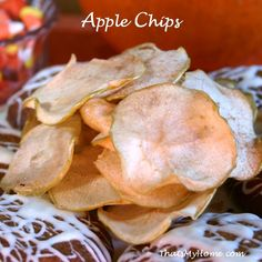 Crispy apples slices sweetened with sugar and a touch of cinnamon are all it takes to make these easy to make Apple Chips.