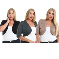 Plus size rayon bolero shrug black grey taupe NWT. Cover up your problem areas while looking chic and feeling comfortable with this plus size bolero shrug made of premium stretchy rayon fabric. Whether it be for casual, office, or dressy, this super versatile piece can complete any outfit! Available in three classic colors: black, grey, and taupe.   SIZE GUIDE:  1X: 14-16W.  2X: 18-20W.  3X: 22-24W.   Made in USA.   Fabric Content: 95% Rayon, 5% Spandex Stylzoo Jackets & Coats