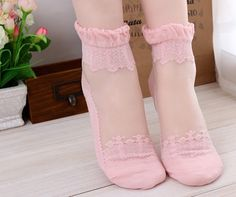 Lace Ankle Socks, Pink Lace Socks, Womens Socks, Gifts for Her by HopeisHipJewelry on Etsy