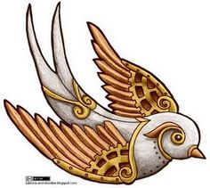 "steampunk swallow tattoo design--make it ""softer"" with more shading. I love the eye and wings"