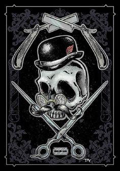 Barber by Dwight Francis Skull Straight Razors Tattoo Canvas Art Print