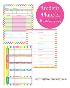 Free printable student planner and reading log - LOVE the color scheme. Great for organization and homeschool schedules too. Print these out for the beginning of the back to school year and put in a binder for your own agenda.