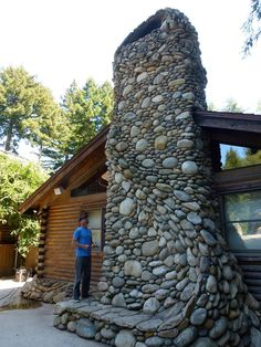 River rock fireplace at Santa Cruz mountains, California. By Michael Eckerman http://www.eckermanstudios.com/