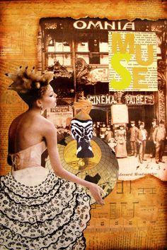 Le Cinema -2D collage by Dianne Hoffman