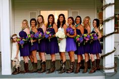 Country wedding, purple wedding with maid of honor in light purple