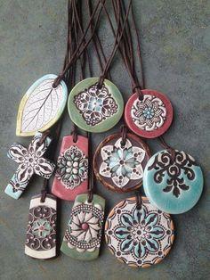 ceramic beads Handmade diffuser necklace for essential oils. Ceramic Necklace, Ceramic Pendant, Ceramic Jewelry, Ceramic Beads, Ceramic Clay, Clay Beads, Diffuser Jewelry, Diffuser Necklace, Polymer Clay Crafts