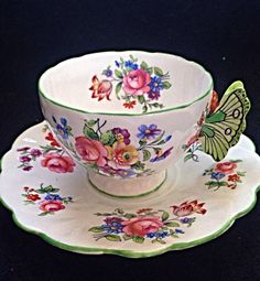 Aynsley Dresden Floral Spray Butterfly Handle Tulip Mould Tea Cup And Saucer #aynsley