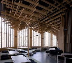enochliew: Sake No Hana by Kengo Kuma and Associates This is an effective way to hide services in the ceiling.