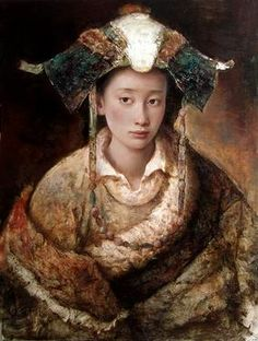 tang wei min paintings   Shy - Painting - available at Meyer Gallery