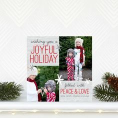 Filled With Peace - Flat Holiday Photo Cards in Tomato or Slate | Robyn Miller