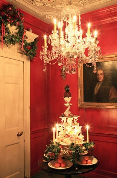 """Welcome to 18 Folgate Street, London: The 18th Century Christmas Home - The Chromologist - """"A sumptuous Christmas display in the red hallway."""""""