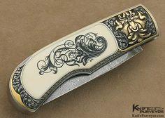 Steve Hoel Custom Knife Scrimshawed Pre-ban Elephant Ivory Interframe Lockback Engraved with Sculpted Built Up 24Kt Gold by Franz Marktl - Steve Hoel custom knife - image 2