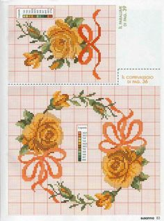 Cross Stitch Rose, Cross Stitch Borders, Cross Stitch Flowers, Cross Stitch Designs, Cross Stitch Patterns, Hand Embroidery Patterns, Ribbon Embroidery, C2c Crochet, Love And Marriage
