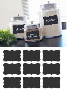 Conjunto de 9 etiquetas em sticker ardosia - Chalkboard e Ardosia - Conjunto de 9 etiquetas - Decoração em vinil Autocolante decorativo e Pa...