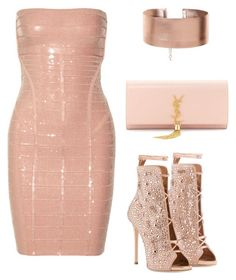"""Styled by Candice"" by candicegeorge on Polyvore featuring Hervé Léger and Yves Saint Laurent"