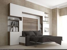 Wall Bed Over sofa . Wall Bed Over sofa . Leather Sectional sofas for Modern Living Room Cama Murphy, Murphy Bed Ikea, Murphy Bed Plans, Sofa Bed King Size, King Beds, Shelf Design, Sofa Design, Interior Design, One Room Flat