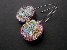 Pendientes de papel hecho a mano reciclado joyas por BLURECO