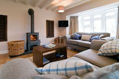 Comfortable lounge with woodburning stove