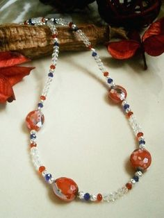 22 inch  RED, BLACK and  BLUE CRYSTAL BEADED NECKLACE   £10.00  http://folksy.com/items/4895522-22-RED-BLACK-BLUE-CRYSTAL-BEADED-NECKLACE-