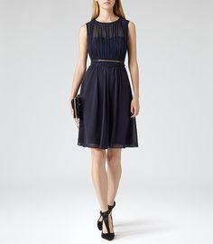 Womens Navy Net Overlay Dress - Reiss Cassis