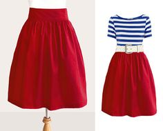 Red skirt with blue striped shirt