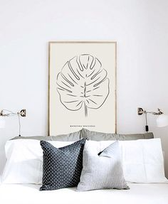 Monstera Deliciosa or Cheese Plant Leaf - PRINTABLE FILE. Tropical Leaf Printable. Black Lines Art. Nordic Minimalist Art. Scandinavian Style. Elegant