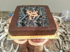 Groom's cake with camo and chocolate deer logo.