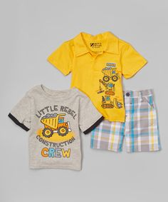Another great find on #zulily! Yellow Construction Polo Set - Infant & Toddler by BOYZ WEAR #zulilyfinds