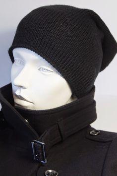 # schwarze Beanie-Mütze #