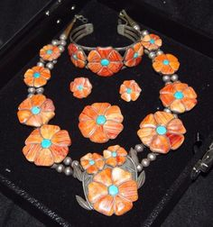 Old Pawn Navajo Spiny Oyster, Turquoise, S.S, Necklace Complete Set - Signed BY