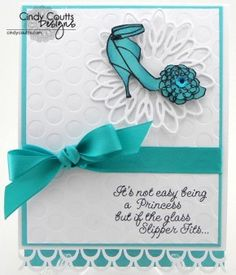 Glam card for The Scrapbooking Queen using the Princess' Birthday Stamps and some Hero Arts High Heels, Papertrey Ink Hawaiian Shores, dry embossing plates, and Memory Box die-cut. Ink distressed the shoe around the edges with Tim Holtz Broken China.